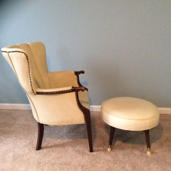 mid century leather chair with ottoman cream off by pilarandme - Leather Chair And A Half