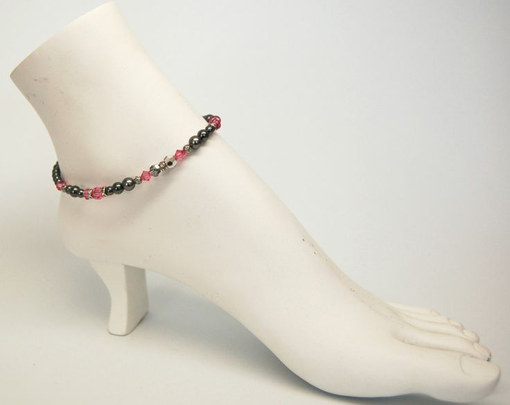 Bracelet cheville bijoux cheville été chaine de pied élégant bijou rose bijou acier inoxydable hématite Création Cristal Ev. #Nuitrosé de la boutique CristalEv sur Etsy