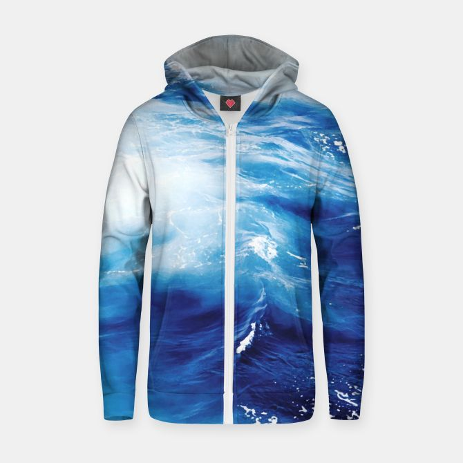 Ocean Cotton zip up hoodie, Live Heroes