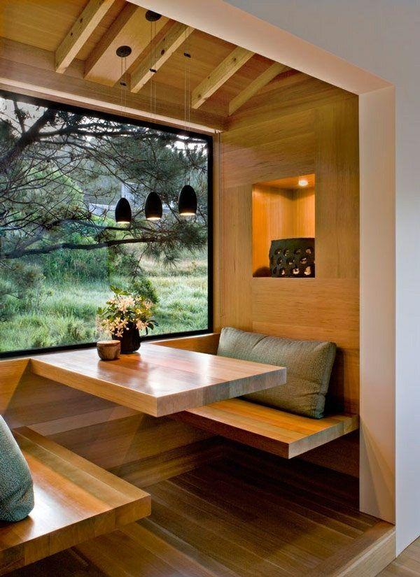kleines Esszimmer einrichten Holz Sitzbank