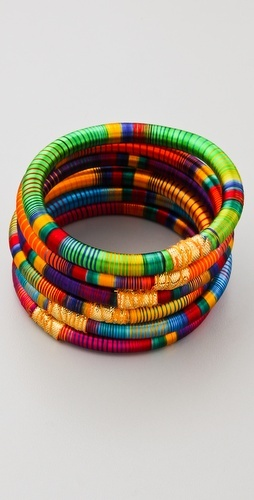 Striped Bangle Set with gold