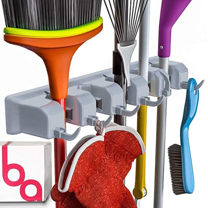 Berry Ave Broom Holder And Garden Tool Wall Mount Organizer For
