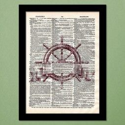 Ancient Ship Wheel Dictionary Art Print