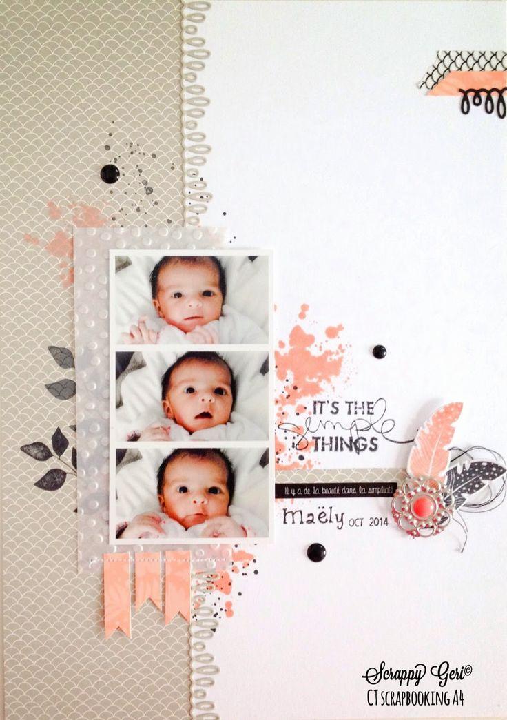 Le blog de Scrappy Géri: CT Scrapbooking A4 challenge #95: un lift Cute Girly Baby page.
