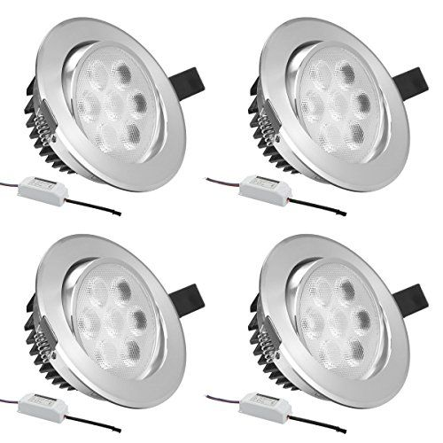LE Pack of 4 Units 7W 3.5-Inch LED Recessed Lighting, 75W Halogen Bulbs Equivalent, LED Driver Included, 500lm, Warm White, 3000K, Recessed Ceiling Lights, Recessed Lights, LED Downlight