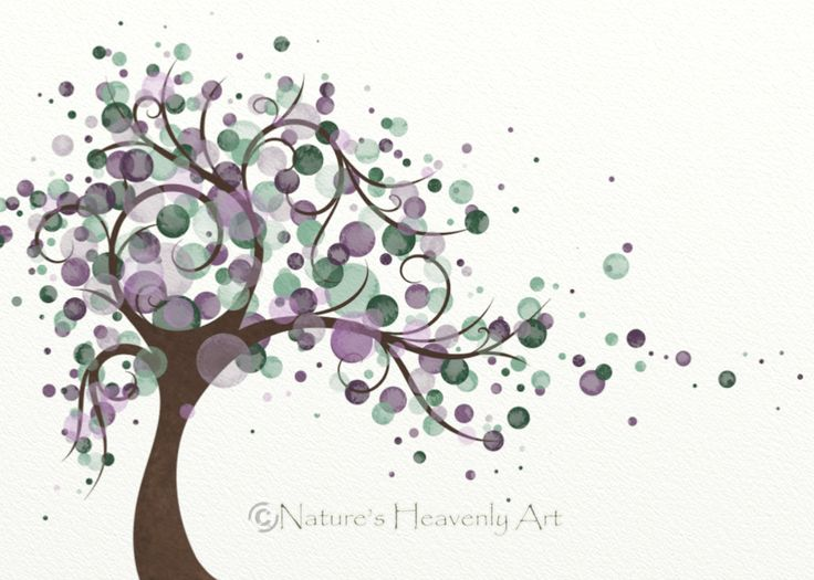 Natures Beauty Tree Art Print 5 x 7, Purple Home Decor, Green Tree Inspired Art, Wind Blowing. $9.00, via Etsy.