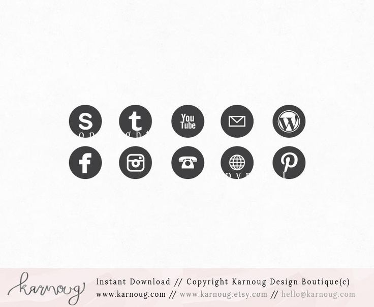 Instant Download - Black Social Media Icons, Clip Art, Downloadable Clip Art, Social Media Icons, Grey Social Media, Web buttons, web icons by karnoug on Etsy