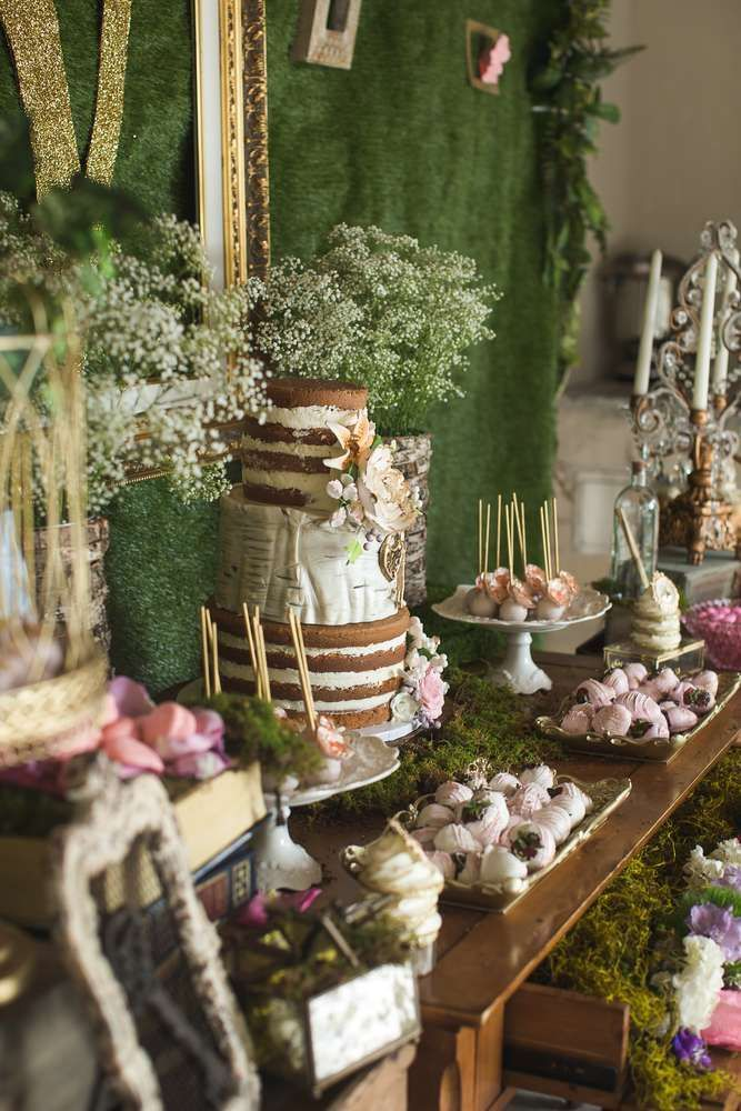 You mill not want to miss this beautiful Enchanted Garden birthday party! The dessert table is amazing! See more party ideas and share yours at http://CatchMyParty.com