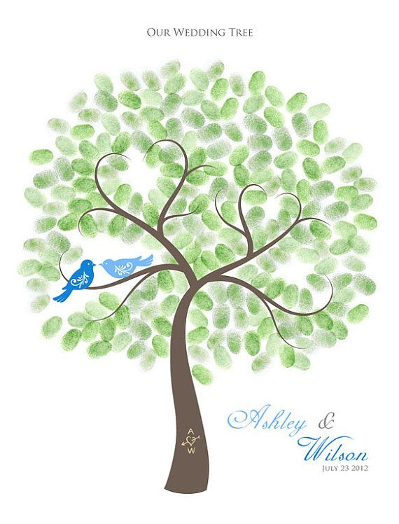 Thumbprint Wedding Tree Guest Book Poster with Ink Pads, Personalized Wedding Tree w/ Love Birds, 18x24, up to 250-300 signatures on Etsy, $63.31 AUD