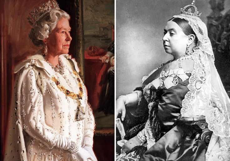 Left: A New Portrait Painting Of The Queen By Artist Andrew Festing For The Royal Hospital In Chelsea Is Unveiled At The Mall Galleries In London. (Photo by Tim Graham/Getty Images); and Right: portrait photograph of Queen Victoria dressed for the wedding of The Duke and Duchess of Albany, 1887