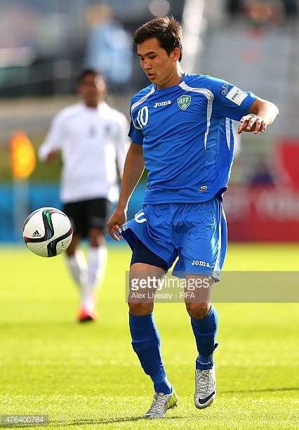 Otabek Shukurov of Uzbekistan controls the ball during the FIFA U20 World Cup Group F match between Fiji and Uzbekistan at the Northland Events...