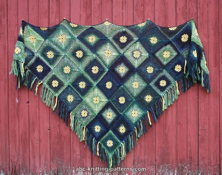 ABC Knitting Patterns - Summer Meadow Motif Shawl