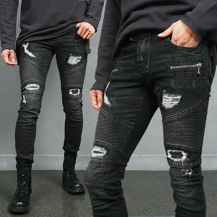 Vintage Distressed Destroyed Seaming Zipper Skinny Biker Jeans via SNEAKERJEANS STREETWEAR SHOP