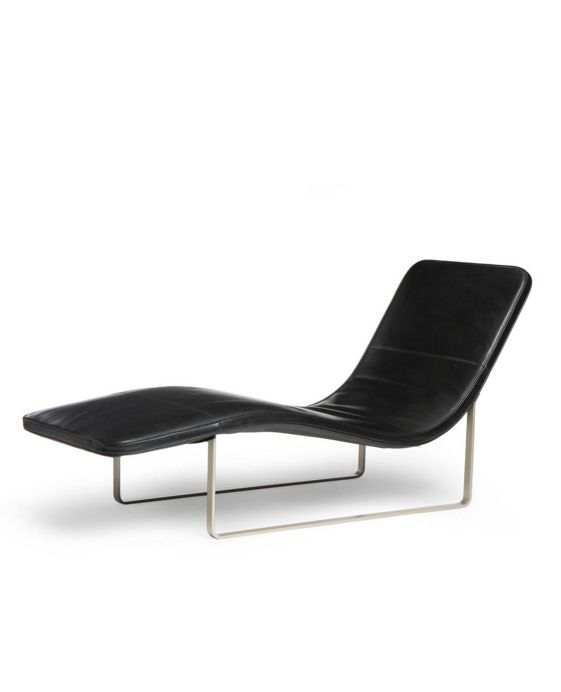 Anonymous; Brushed Steel and Leather Chaise Longue by B&B Italia, 1990s.