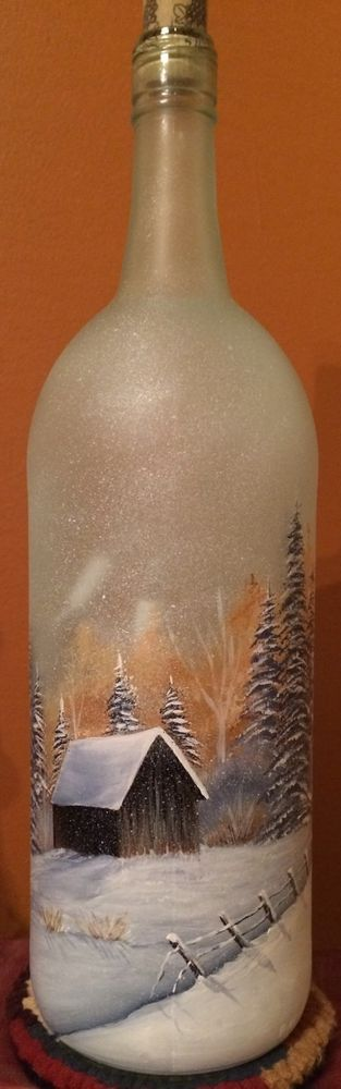 Hand Painted Lighted Wine Bottle with A Snowy Barn Scene | eBay