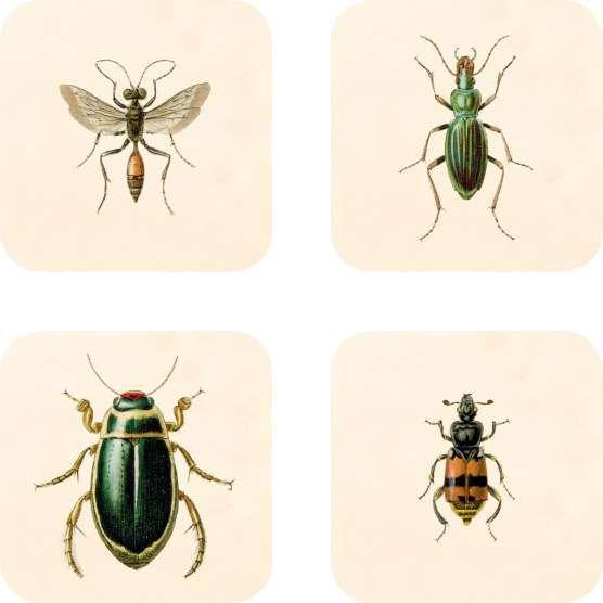 Brickor, Underlägg 9 cm, Insekter, 4-pack