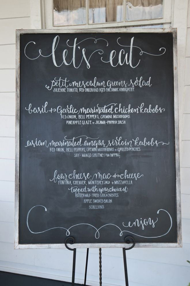 Large chalkboard wedding menu sign. Image: The Mondays Photography