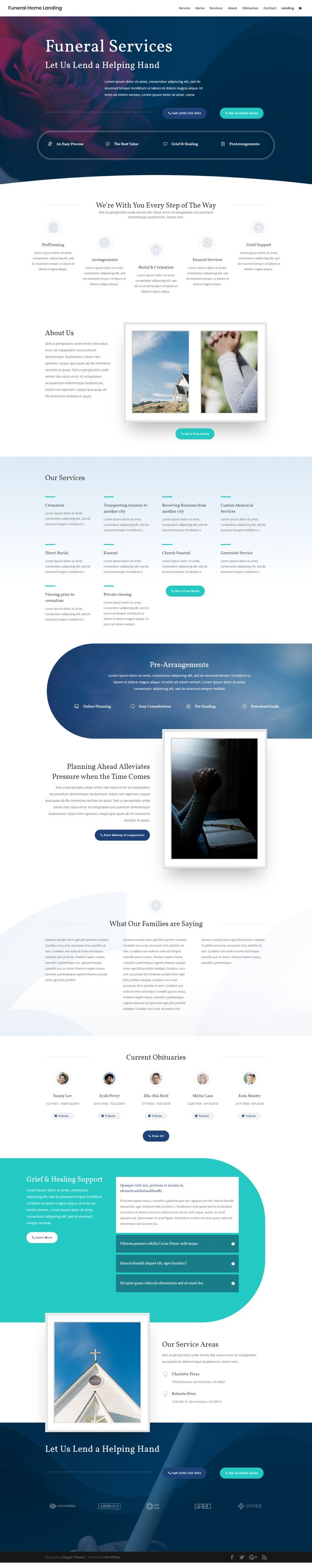 Free Funeral Home WordPress Theme Layout Template | Funeral Services Website Design Inspiration Idea