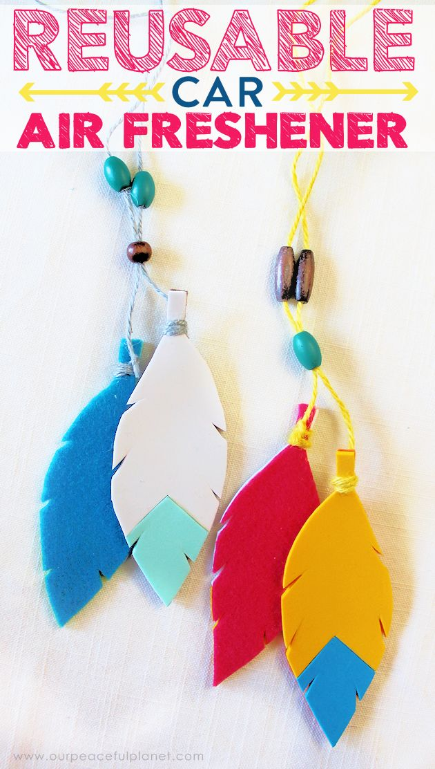 Make a colorful geometric tribal car air freshener in just 10 minutes! Customize with your favorite colors and scents. Grab your free pattern download.