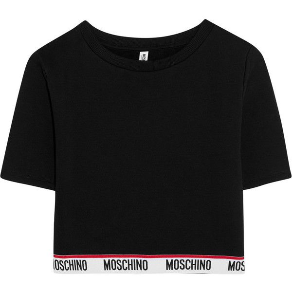 Moschino Cropped cotton-jersey top ($137) ❤ liked on Polyvore featuring tops, blusas, crop tops, shirts, t-shirts, black, sport top, cotton jersey, shirt top and crop top