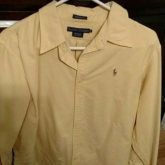 Ralph Lauren Oxford Shirt Yellow women's Ralph Lauren Oxford Shirt. Excellent condition. Size 16 Ralph Lauren Tops Button Down Shirts