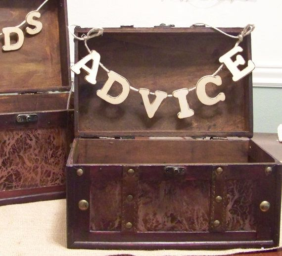 Use the second suitcase for advice. Rustic Wedding ADVICE Box With Banner by sugarplumcottage on Etsy, $46.00