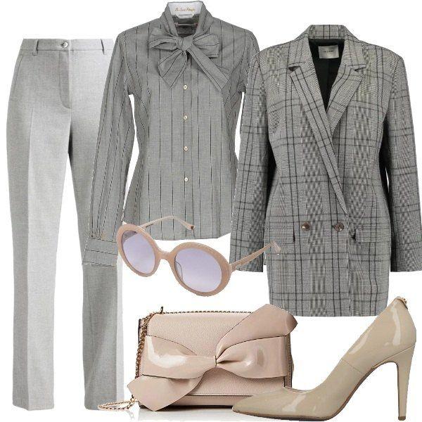 giacca grigia a quadri per donna