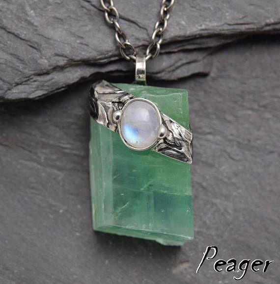 Green Calcite pendantMoonstone necklaceMoonstone
