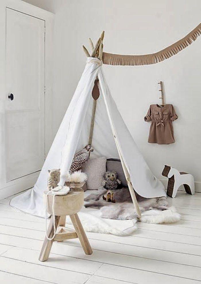 teepee in kids room. white, neutral.