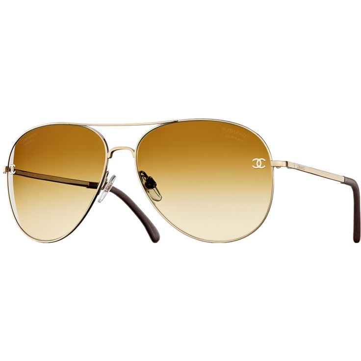 Chanel 4189 Gold Polorized Aviator Sunglasses-gordonstuart.com