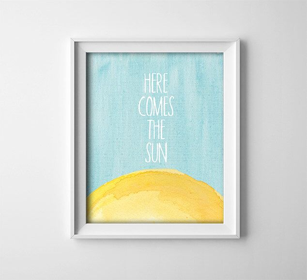 Buy One Get One Free - Art Print - Here comes the sun - typography - Beatles - nursery art - baby - child - yellow - teal blue by ThePrintAnnex on Etsy https://www.etsy.com/listing/179504987/buy-one-get-one-free-art-print-here