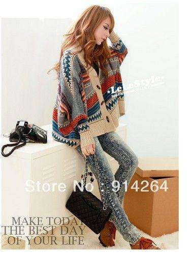 Дешевое Мешковатые свитер джемпер КУРТКА MULTI   COLOR S / M LY132 / бесплатная доставка, Купить Качество Свитера непосредственно из китайских фирмах-поставщиках: