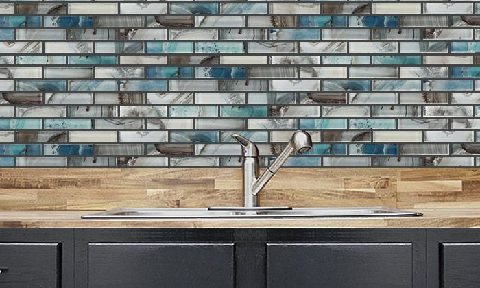 Kitchen Ideas - Barlume 1 x 4 - Oceano Linear Mosaic