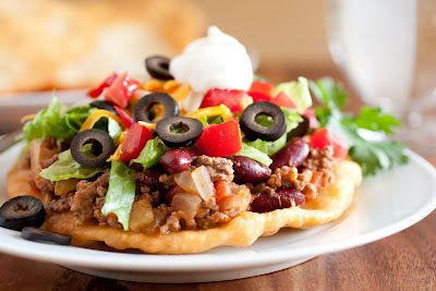 Mom's Navajo Tacos and Indian Fry Bread - I had fry bread at the Mission near Tucson and tacos on fry bread at a pow-wow at the Trickster Gallery in northern Illinois - a branch of the American Indian Center located in Chicago. Hope this recipe lives up to expectations!!