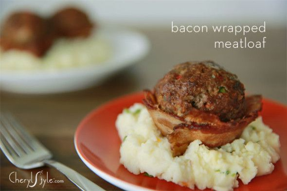 Bacon wrapped mini meatloaf cup