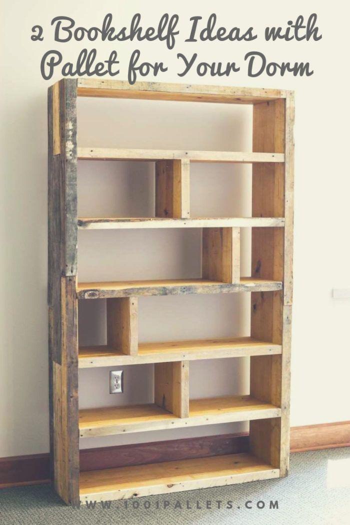 2 Bookshelf Ideas With Pallet For Your Dorm 1001 Pallets Bookshelves Diy Bookcase Diy Rustic Bookshelf