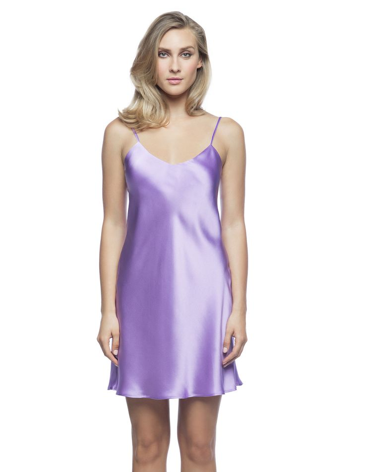 $180 Corazon Slip Du Jour in Lilac. Casualwear-Crossover slip!  Living-wear at its best bias-cut silk slip, practically lined front and back neckline featuring golden adjustable spaghetti straps ideal to sparkle under the sun.
