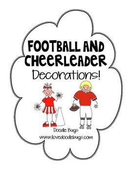 Football & Cheerleader Door Decorations for Student Names - Doodle Bugs Teaching - TeachersPayTeachers.com