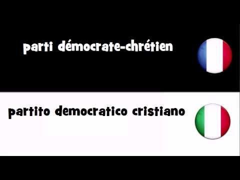 VOCABULAIRE EN 20 LANGUES = parti démocrate-chrétien