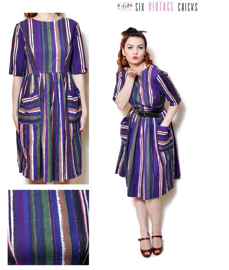 stripe Dress with pockets cocktail dress midi vintage bohemian boho chic  hippie retro 60s 70s clothing short sleeve rainbow dress  size XL by SixVintageChicks on Etsy