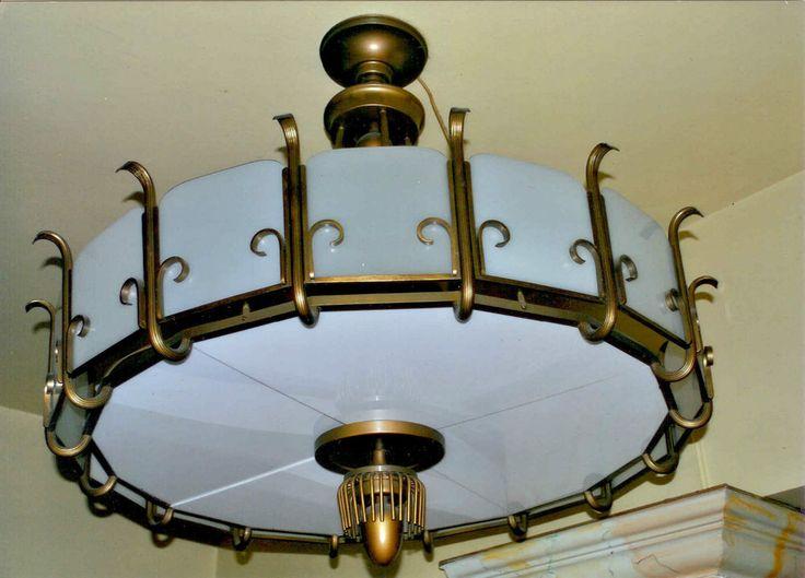 art deco leuchter lampe kronleuchter l ster ca 1930 30er mit plexiglasscheiben lichtquelle. Black Bedroom Furniture Sets. Home Design Ideas