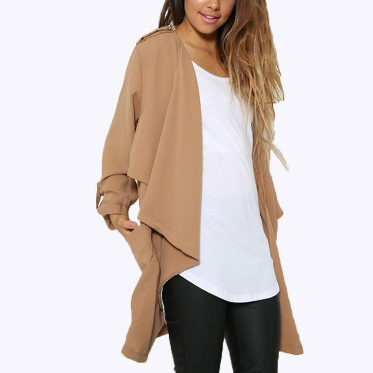 2016 European Women Chiffon Long Sleeve Cardigan Outwear Waterfall Jackets  Casual Loose Solid Blouses Tops US Plus Szie