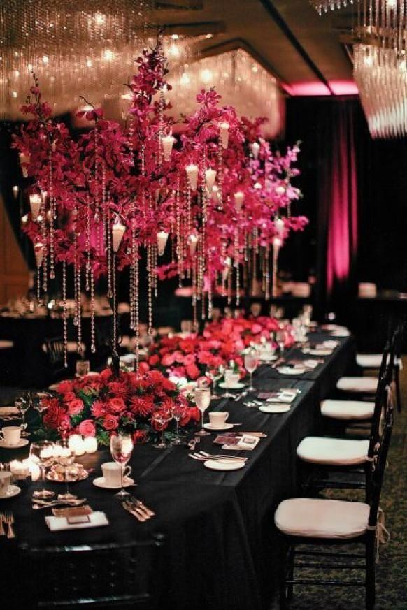 Rose et noir de mariage Idées Décor ♥ Hot Pink / Fuchsia Fleur et Diamond Acrylique Perles en cristal de mariage Garland Centerp