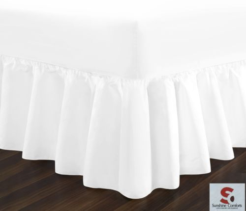 Percale-Frill-Valance-Fitted-Bed-Sheets-Single-Double-King-Size-180-Tread-Count