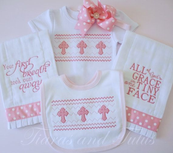 22 best christian baby gifts images on pinterest baby shower gifts baby gifts take home outfit baby girl outfit embroidered burp cloths religious baby gift new baby gift baby shower gift pink negle Choice Image