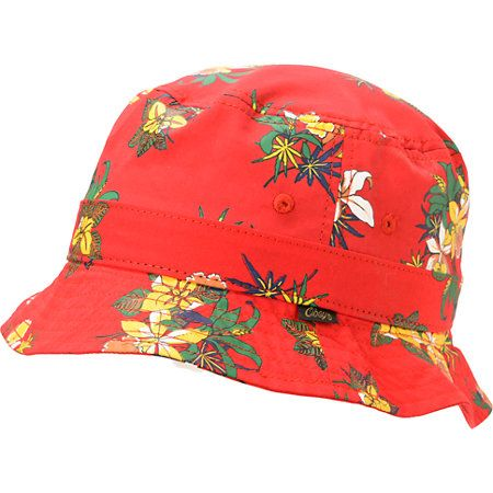 Hit the beaches in bright style with the new Obey Sativa Floral red bucket hat. Grab some shade under the wide soft brim of the red colorway with an all-over pot leaf floral print and embroidered eyelets to help the Sativa Floral bucket hat by Obey breath