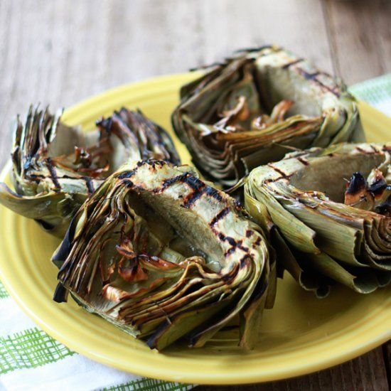 Grilled Artichokes with Roasted Garlic Olive Oil Dip. Once you try ...