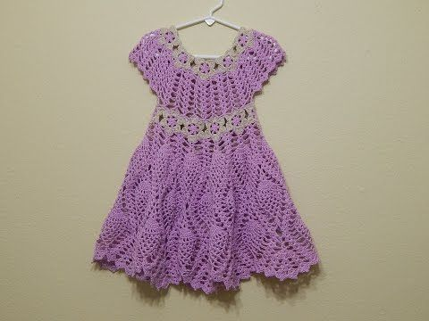 Vestido para Niña al Crochet con motivo de Piñas y flores / Tutorial   Crochet y Dos agujas