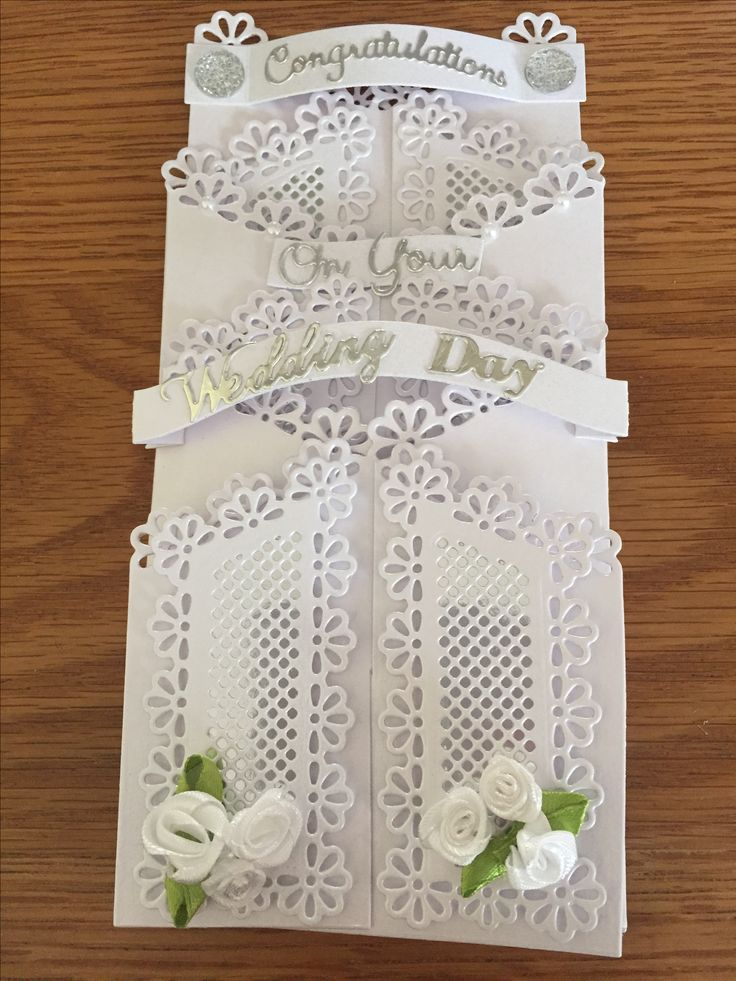 Wedding Day zig zag card design made using Tattered Lace dies.