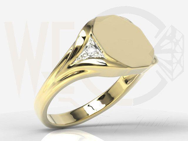 Sygnet z żółtego złota / Signet ring made from yellow gold / 2296 PLN #signet_ring #gold #jewelry #jewellery #man #sygnet #bizuteria #zloto